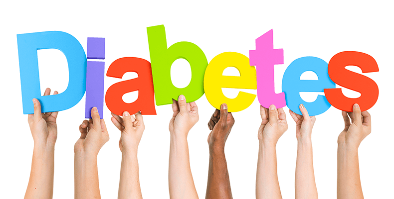 Manos con letras de diabetes